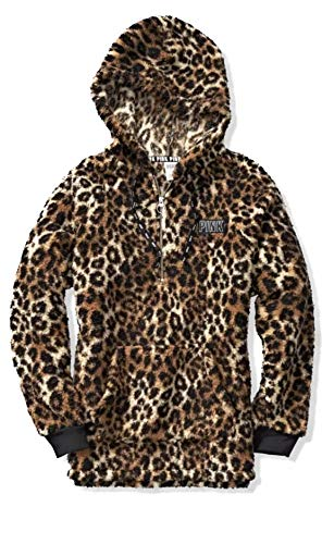 Victoria's Secret Pink Hooded Sherpa Quarter Zip Cozy Pullover Sweater Cheetah Leopard Print Size Small (Cheetah Print Hoodie)