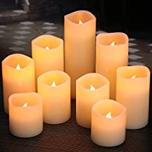"""Flameless Candles, Battery Candles Set of 9(D3"""" x H3""""4""""5""""6""""7""""8"""") Pillar LED Candles With Remote Timer by Comenzar (Ivory)(Batteries not included)"""