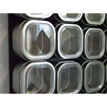 6 oz Bravada Square Magnetic Spice & Storage Tins - Secure Snap Pins - BPA Free (12, 150 ml) (GST/HST included in Price)