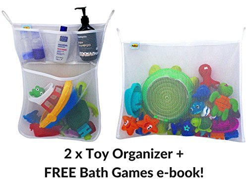 Bath Toys Organizer x 2 by PlayTime! | XL Super strong, Mold Proof, 5 Pocket Mesh Holder for Baby/Toddlers + FREE Games E-Book. Toy Storage has never been easier! Includes ()