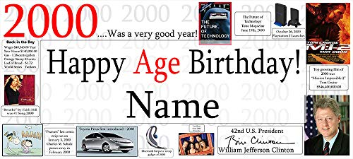2000 19th Birthday Banner (Each) Customized by -