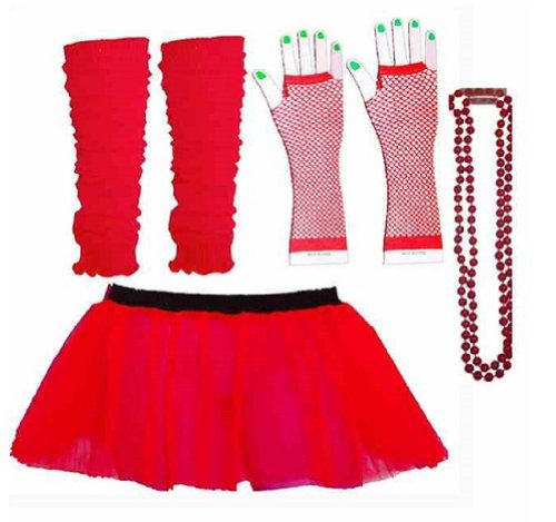 Four Peice Adult Womens 8-14 Tutu Set Neon Red Tutu Legwarmers Fishnet Gloves Beads 80s Fancy Dress Costume (RB Fashions Clothing) by RB Fashion (80s Womens Fancy Dress)