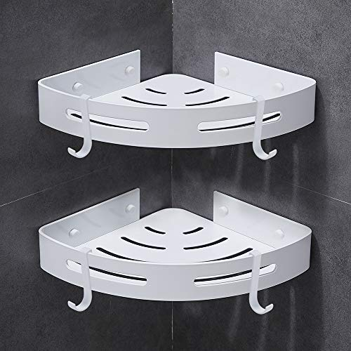 Gricol Bathroom Shower Shelves Corner Triangle Self Adhesive Wall Shower Caddy Wall Mount No Drilling,2 Pack