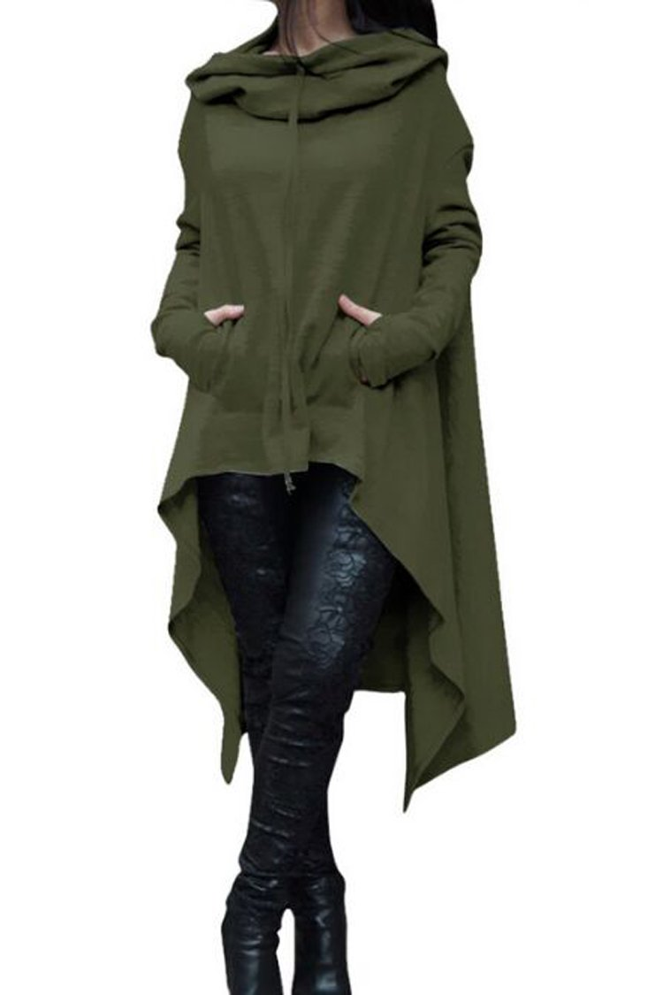Herose Teens Plain Cotton Sweatshirt Hoodie Poncho Cape Cloak Outfits XS Army Green