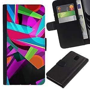 KingStore / Leather Etui en cuir / Samsung Galaxy Note 3 III / Colores colorido del trullo rosado Formas