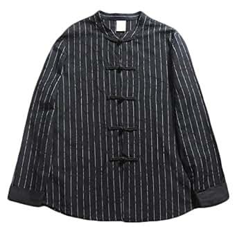 Camisa De Manga Larga para Hombres Blusa Casual De Cuello Camisa De Algodón De Rayas Estilo Chino,Black-2XL
