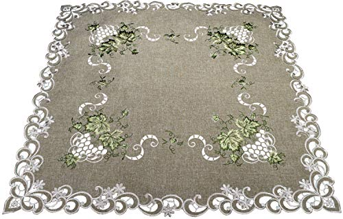 (Linens, Art and Things Embroidered Green Leaf on Antique Green Fabric Table Topper Small Tablecloth Dresser Scarf 33 Inch Square Doily)