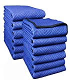 50 Lbs Deluxe Pro Moving Blanket, 72'' x 80'',12-PK, Blue/Blue, Clean Batting, Durable - Southern Wholesales