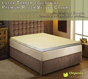 natural latex mattress topper with premium velvet covering cal king size home kitchen. Black Bedroom Furniture Sets. Home Design Ideas