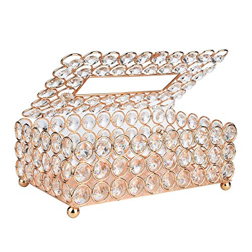 Obteun Tissue Box, Home decorative Handmade Round Crystal Tissue Box Tray Accommodate About 200pc Paper Towel (7.87×4.6×3.74inch, Gold)