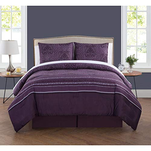 8 Piece Plum Purple Damask Pattern Comforter King Set, Elegant Luxury Rich Paisley Floral Stripes Design, Modern Bedrooms, Boho Chic Artwork-Inspired Soft & Cozy Bedding, Vibrant Bold Colors, Unisex