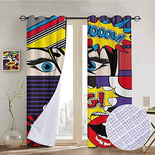 NUOMANAN Curtains Art,Comic Book Inspired Style Wooow OMG Eyes Reading Panels Lines Excitement Action Print,Multicolor,Treatments Thermal Insulated Light Blocking Drapes Back for Bedroom ()