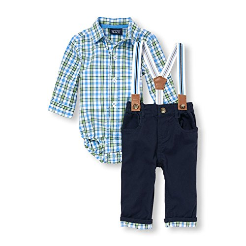 Guys Outfit (The Children's Place Baby-Boys Li'l Guy's Suspender Outfit Set, Tidal, 6-9 months)