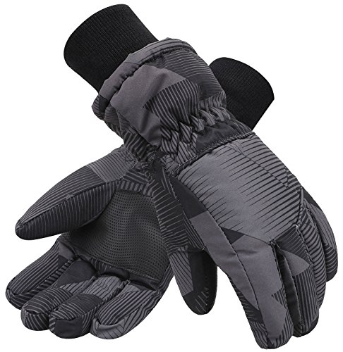(Lullaby Kids Windproof Girls Youth Winter Ski Snow Snowboard Riding Ski Gloves L)