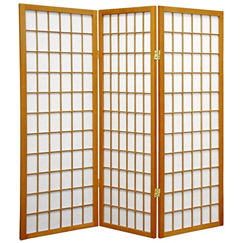 Oriental Furniture 4 ft. Tall Window Pane Shoji Screen - Honey - 3 Panels