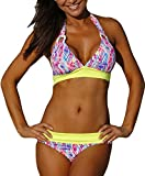 Century Star Chic Retro V Neck Halter Padded Triangle Bikini Swimsuit Bathing Suits for Women teens Floral Yellow M (US 6-8)