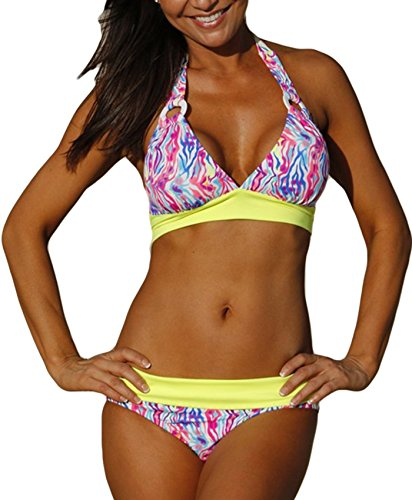 Century Star Chic Retro V Neck Halter Padded Triangle Bikini Swimsuit Bathing Suits for Women Teens Floral Yellow L (US 8-10) (Halter Two Piece Swimsuit)