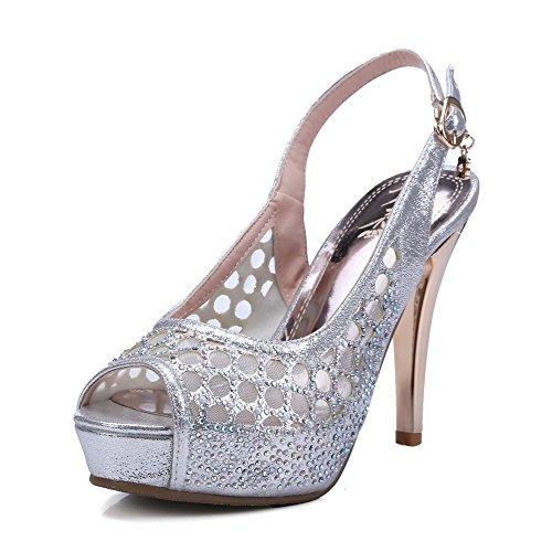 AmoonyFashion Womens Heels Buckle Peep Sandals Toe Pu High Silver Solid rrdgPq