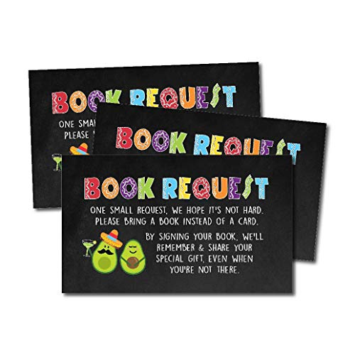 25 Fiesta Books for Baby Request Insert Card for Boy or Girl Baby Shower Invitations or invites, Spanish Mexican Cute Bring A Book Instead of A Card Theme for Gender Neutral Reveal Party Story Games