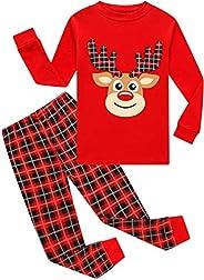 Boys & Girls Christmas Pajamas Kids 100% Cotton Santa Clothes Set Sleepw