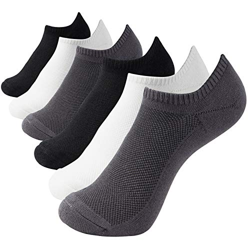 Seamless No Show Socks - MD Ultra Soft Athletic Bamboo Socks for Women and Men with Seamless Toe No Show Casual Socks 6 Pack 2Black/2White/2Grey10-13