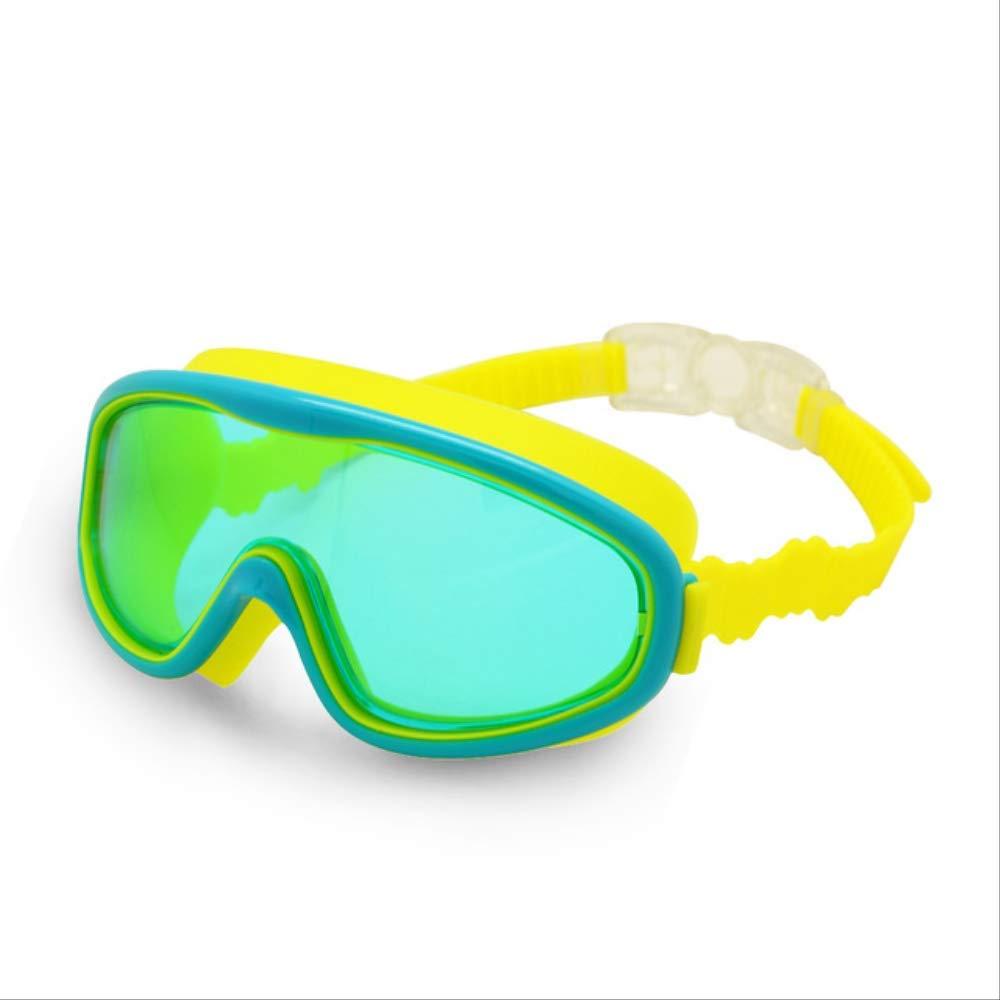 LKCXDDGafas de natación para niños Niños 3-8Y Visión amplia Anti-niebla Anti-UV Snorkeling Máscara de buceo Tapones para los oídos Deportes al aire libreVerde-Amarillo