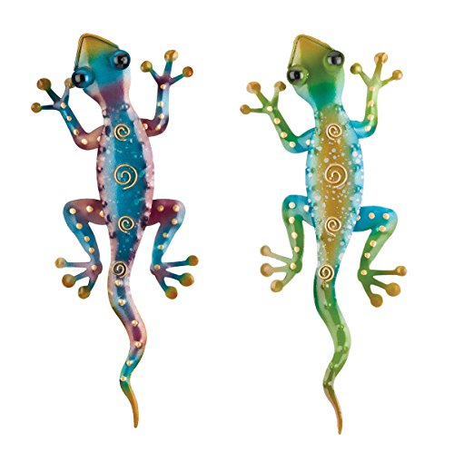 Regal Art & Gift 11-Inch Gecko Tropical Outdoor Decor, Metal Wall Art, Southwest Gifts (Rainbow Green/Purple)