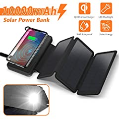 10000mAh Portable Solar Charger with 3 solar panels Unlimited energy, Power your devices, Enjoy your life!7 Highlights: High Capacity 3 Solar Panels Qi Wireless Charging Dual-Output Ports Rainproof & Shockproof & Dustproof Multiple Co...
