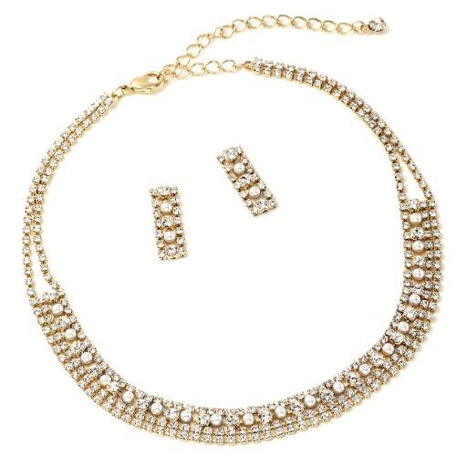Gold Crystal Rhinestone and Cream Pearl 4 Line Choker with Matching Dangle Earrings Jewelry - Choker Pearl Rhinestone