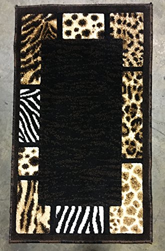 Animal Skin Leopard Border Door Mat Rug Black Design 73 Skinz (2 Feet X 3 Feet 4 Inch )