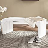 Crisp White Finish Solid Mahogany Slat Bench/Table