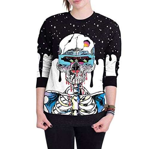 iYYVV Womens Scary Halloween Skull 3D Print Party Long Sleeves Top Sweatshirt -