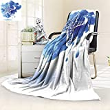 Twin Size Bed Duplex printed blankets Super Soft Nautical Starfish Figure On A Watercolor Paintbrush WatercolorSplash Marine Design Blue For Hotel Fleece Blanket for Bed or Couch/79''W By 47''H