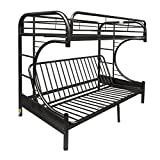 Eclipse Futon Bunk Bed, Black, Twin Over Queen