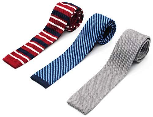 ZENXUS Vintage Skinny Knit NeckTies for Men 3-PAK 2.2 Width Flat-end Smart Sock Ties KT013