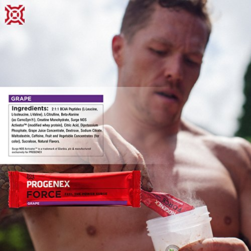 PROGENEX® Force Pre Workout Powder   Sports Performance and Energy Drink Supplement for Men and Women   30 Servings in Individual Packets, Grape