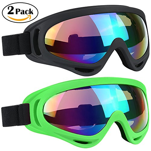 Ski Goggles 2 Packs, Multicolor Lenses Snow Goggles with Wind Dust UV 400 Protection for Women Men Kids Girls Boys Winter Snowboard Snowmobile Skiing Skate Motorcycle Bicycle Riding (Child Ski Goggles)
