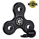 Zeato 360º Rotation Fidget Tri Spinner Hand Toy Anti-anxiety EDC Focus Toy with Hybrid Ceramic Bearing Stress Reducer Relieves ADHD, Anxiety and Boredom Spins for up to 2 Minutes - Black