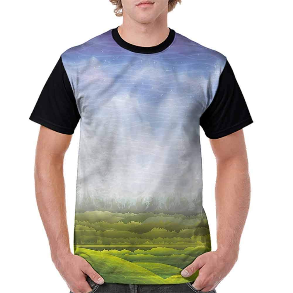 BlountDecor Loose T Shirt,Mountains with Green Hills Fashion Personality Customization