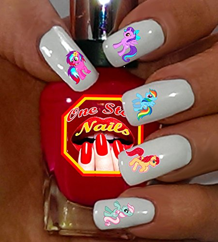 nail decals: Set of 46 Clear waterslide nail decals with My little Pony Logo nail decals Art and Logos. MLP001-46 by One Stop Nails ()