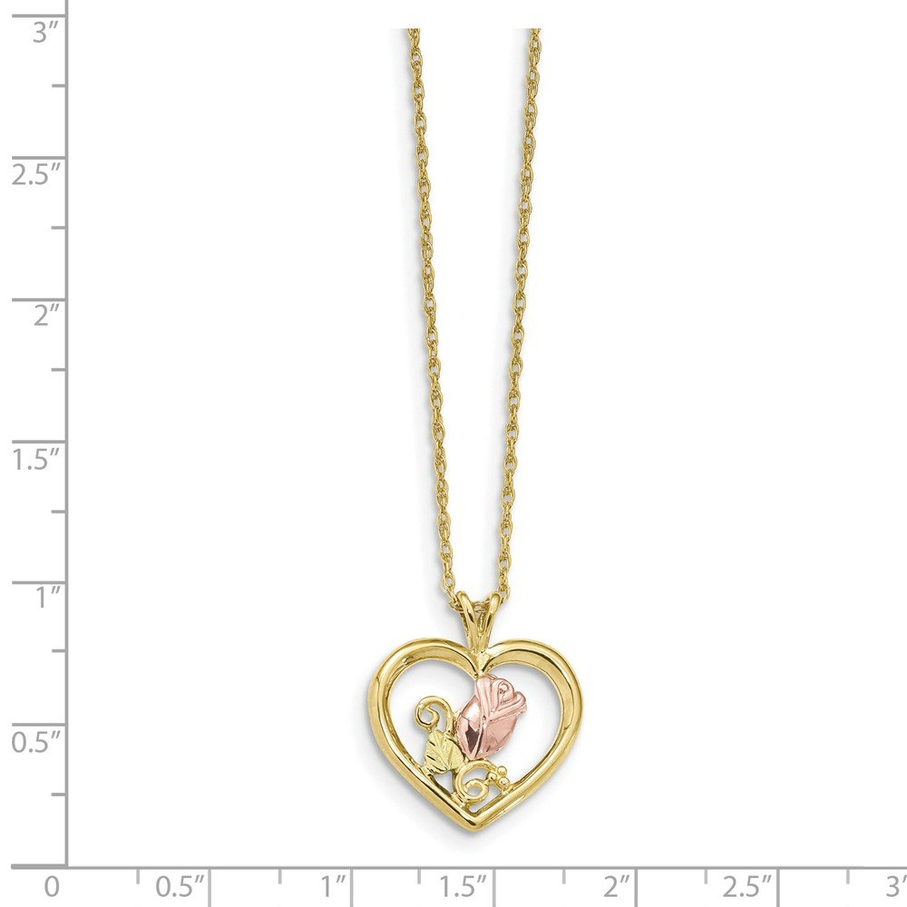 10k Yellow Gold Black Hills Rose in Heart Necklace 18inch by Diamond2Deal (Image #2)