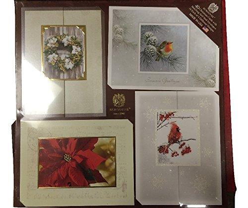 Burgoyne 40 Christmas Cards wMatching Self-Seal Envelopes 10 Each floral