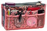 Purse Organizer,Insert Handbag Organizer Bag in Bag (13 Pockets 15 Colors 3 Size) (L, Pink Leopard)