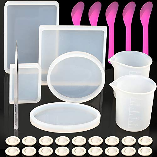 Large Resin Molds, YGDZ 5pcs Silicone Resin Casting Molds Square Round, 2pcs 100ml Measuring Cups, 5pcs Mixing Spoons, 20pcs Finger Cots & 1pcs Tweezer