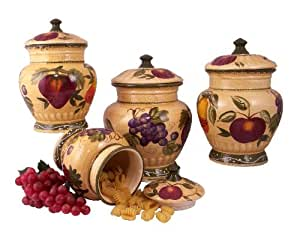tuscan kitchen canisters 4pc italian canister set tuscany fruit decor 15237
