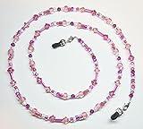 Light Rose / Fuschia Austrian Crystal Pink Bead Mix Eyeglass Chain