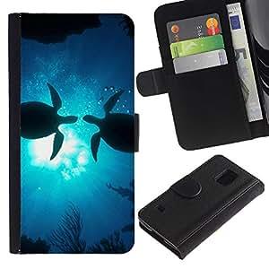 Billetera de Cuero Caso Titular de la tarjeta Carcasa Funda para Samsung Galaxy S5 V SM-G900 / Turtles Love Ocean Sunshine Blue Underwater / STRONG