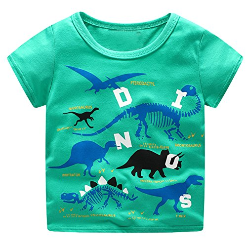 Price comparison product image Meeting Freedom Boys' T-Shirt Round Neck Blouse Short Sleeve Cotton Tees Print Dinosaur