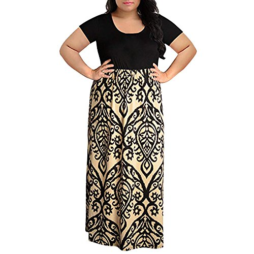 TWGONE Maxi Dresses for Women Plus Size Summer Short Sleeve Floral Print Casual Long -