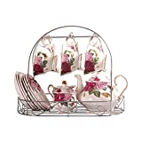 ufengke 15 Piece European Bone China Coffee cup Set, Ceramic Porcelain Tea Cup Set With Metal Holder, Tea Gift Sets, Red And Pink Rose Painting